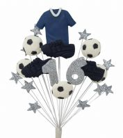 Football birthday cake topper decoration blue shirt - free postage